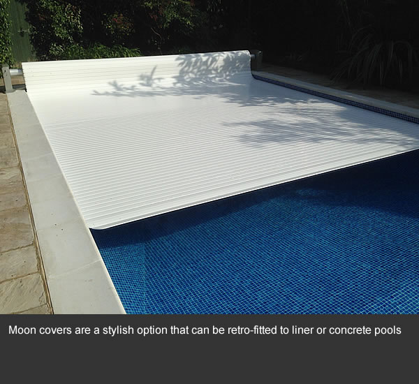 Moon covers are a stylish option that can be retro-fitted to liner or concrete pools